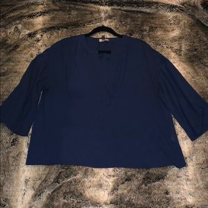 Cropped Navy Blouse